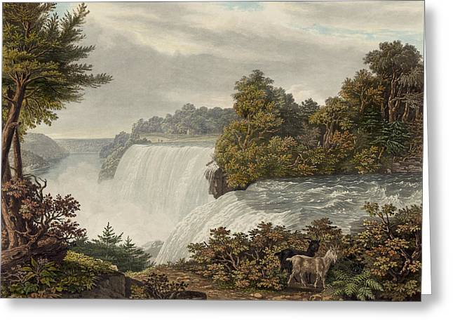 Rocks Drawings Greeting Cards - Niagara Falls Circa 1829 Greeting Card by Aged Pixel