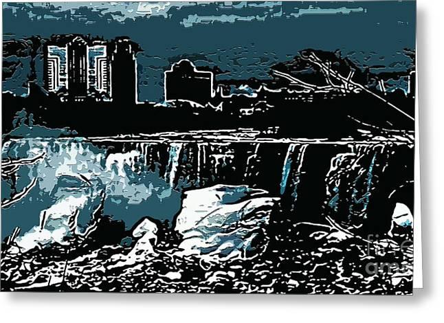 Niagara Falls Frozen At Night Greeting Card by Miss Dawn