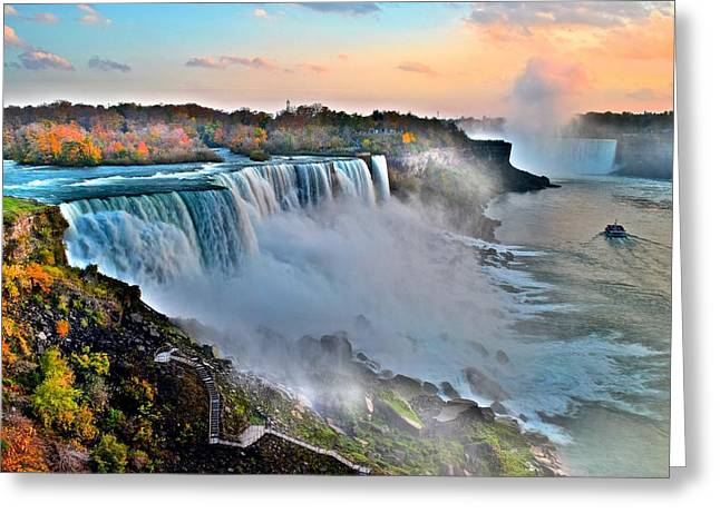 Amazing Sunset Greeting Cards - Niagara Falls Greeting Card by Frozen in Time Fine Art Photography