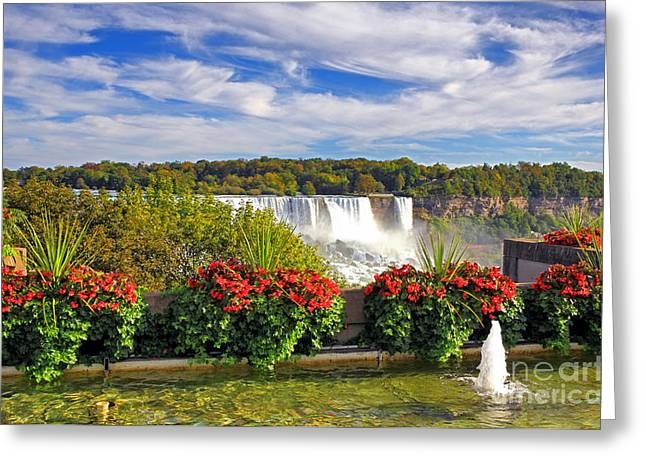 Red Geraniums Greeting Cards - Niagara Falls Garden Greeting Card by Charline Xia