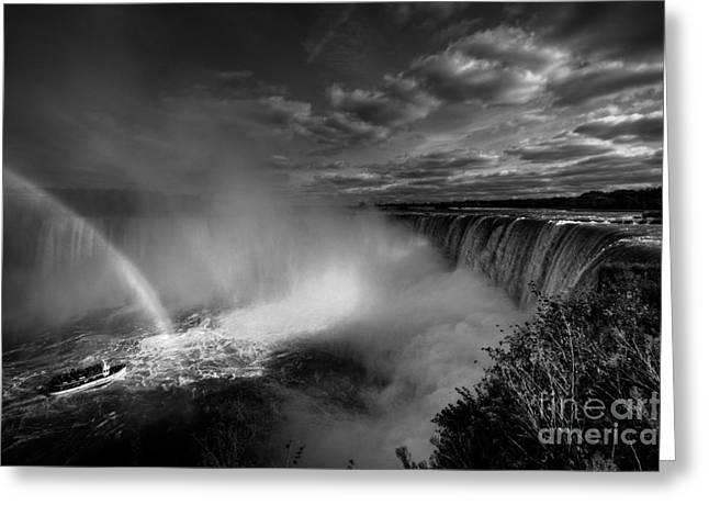 Niagara Falls Greeting Cards - Niagara Falls in mono Greeting Card by Rob Hawkins