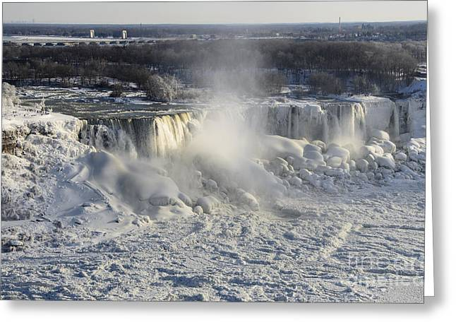 Famous Pyrography Greeting Cards - Niagara Falls in Winter Greeting Card by Yoshiko Wootten