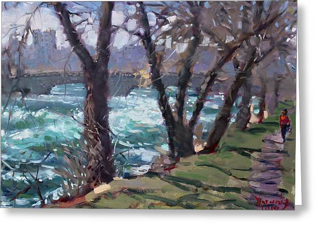 Niagara Falls Greeting Cards - Niagara Falls River April 2014 Greeting Card by Ylli Haruni