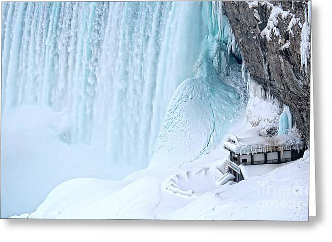 Horseshoe Falls Greeting Cards - Niagara Falls Winter Secret Greeting Card by Charline Xia