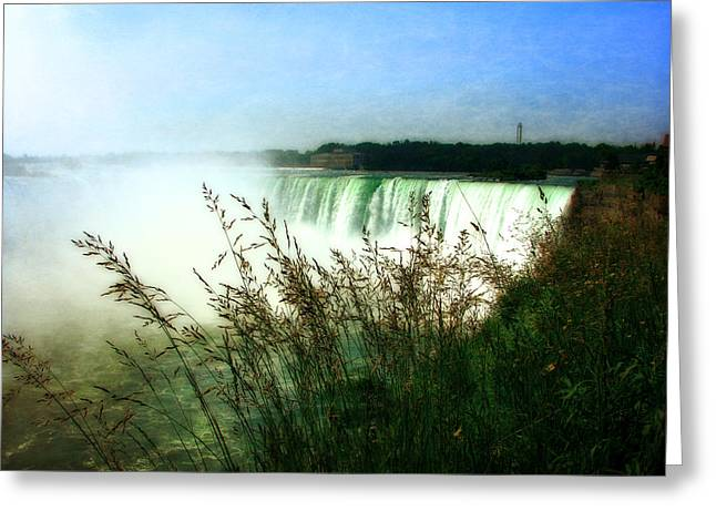 Blue Green Water Digital Greeting Cards - Niagara Falls with Grasses Greeting Card by Michelle Calkins