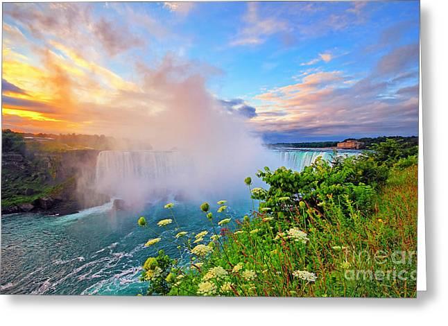 Horseshoe Falls Greeting Cards - Niagara Sunrise Greeting Card by Charline Xia