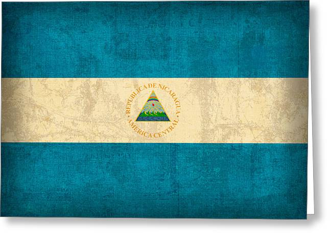 National Symbol Greeting Cards - Nicaragua Flag Vintage Distressed Finish Greeting Card by Design Turnpike