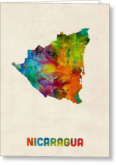 Latin Greeting Cards - Nicaragua Watercolor Map Greeting Card by Michael Tompsett
