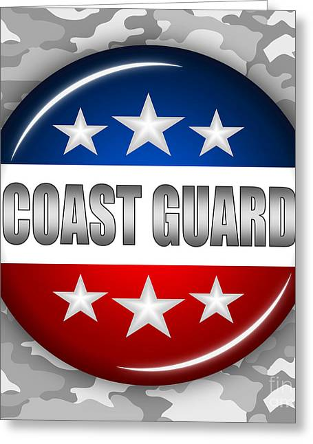 4th Of July Mixed Media Greeting Cards - Nice Coast Guard Shield 2 Greeting Card by Pamela Johnson