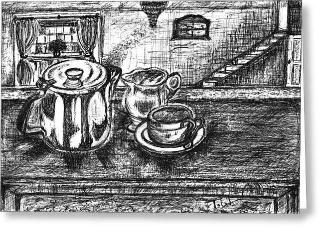Jugs Drawings Greeting Cards - Nice cup of tea Greeting Card by Teresa White