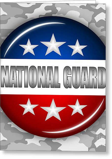4th Of July Mixed Media Greeting Cards - Nice National Guard Shield 2 Greeting Card by Pamela Johnson