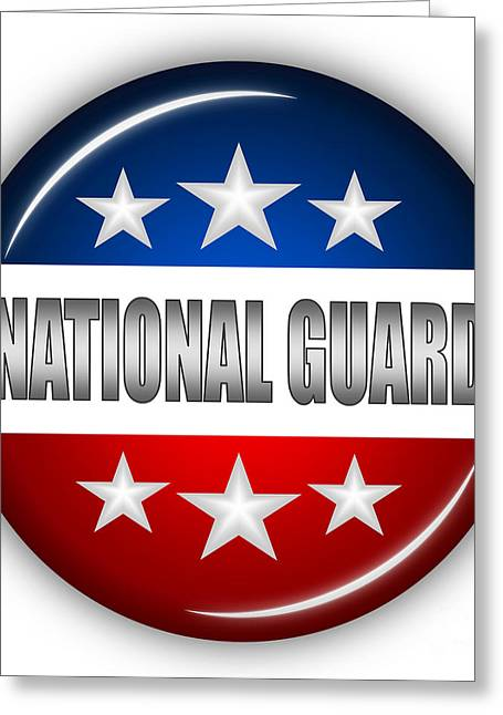 4th Of July Mixed Media Greeting Cards - Nice National Guard Shield Greeting Card by Pamela Johnson