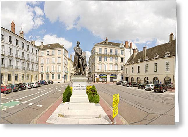 Human Interest Greeting Cards - Nicephore Niepce Statue At Town Square Greeting Card by Panoramic Images