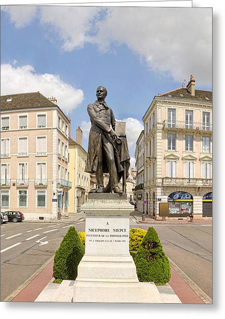 Human Interest Greeting Cards - Nicephore Niepce Statue Greeting Card by Panoramic Images