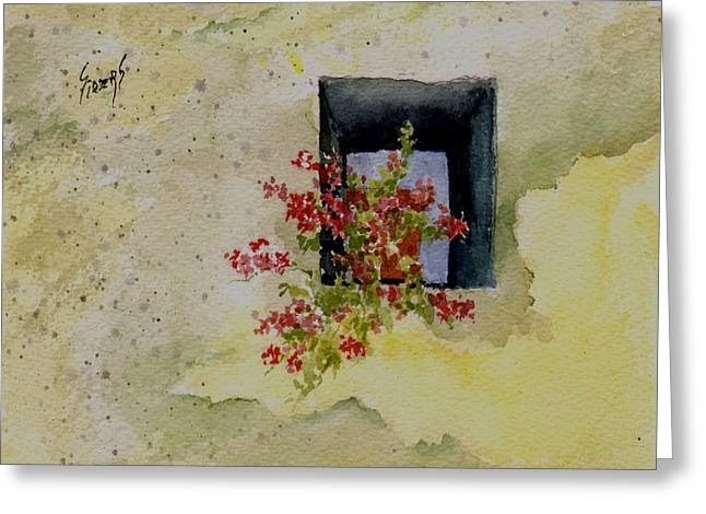 Niche With Flowers Greeting Card by Sam Sidders