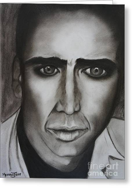 Nicholas Pastels Greeting Cards - Nicholas Cage Greeting Card by Merrin Jeff