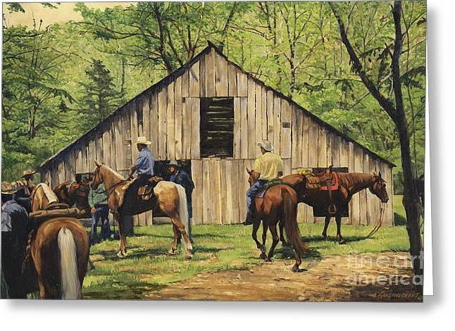 Trail Ride Greeting Cards - Nichols Barn Greeting Card by Don  Langeneckert