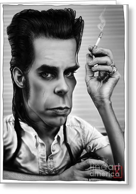 Caricature Digital Art Greeting Cards - Nick Cave Greeting Card by Andre Koekemoer