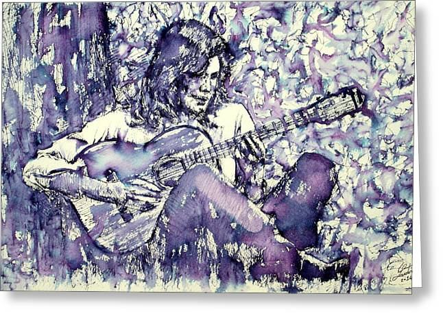Player Drawings Greeting Cards - NICK DRAKE playing - drawing portrait Greeting Card by Fabrizio Cassetta