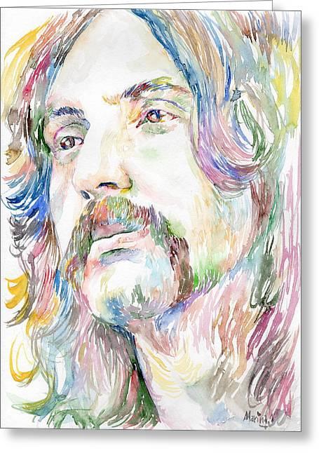 Original Robert Plant Paintings Greeting Cards - Nick Mason Greeting Card by Marina Sotiriou