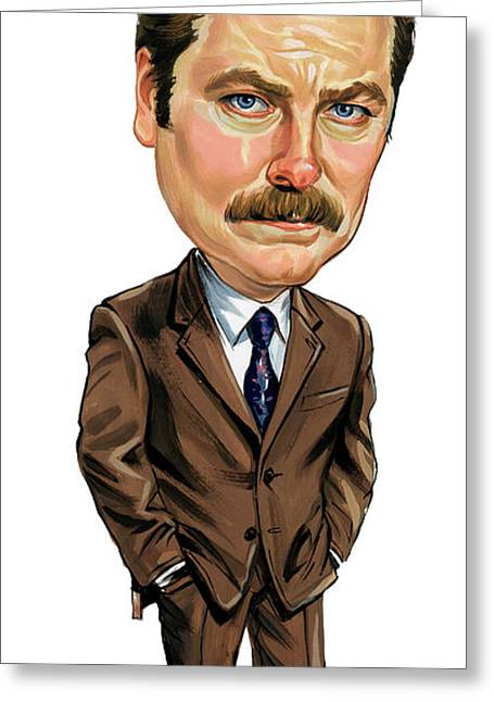 Indiana Paintings Greeting Cards - Nick Offerman as Ron Swanson Greeting Card by Art