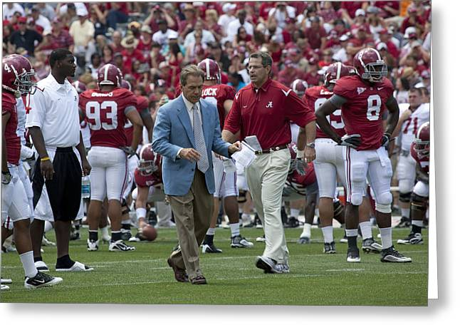 Sec Greeting Cards - Nick Saban and the Tide Greeting Card by Mountain Dreams
