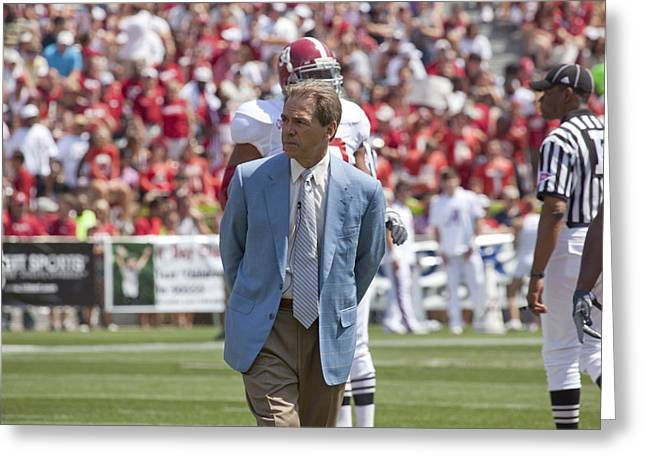 Crimson Tide Photographs Greeting Cards - Nick Saban Head Football Coach of Alabama Greeting Card by Mountain Dreams