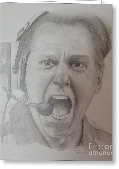 Sec Drawings Greeting Cards - Nick Saban Motivational Speaker Greeting Card by Ron Cartier