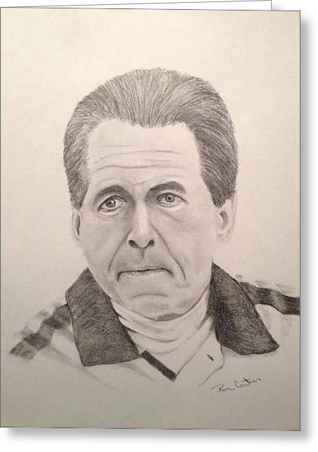 Crimson Drawings Greeting Cards - Nick Saban Greeting Card by Ron Cartier