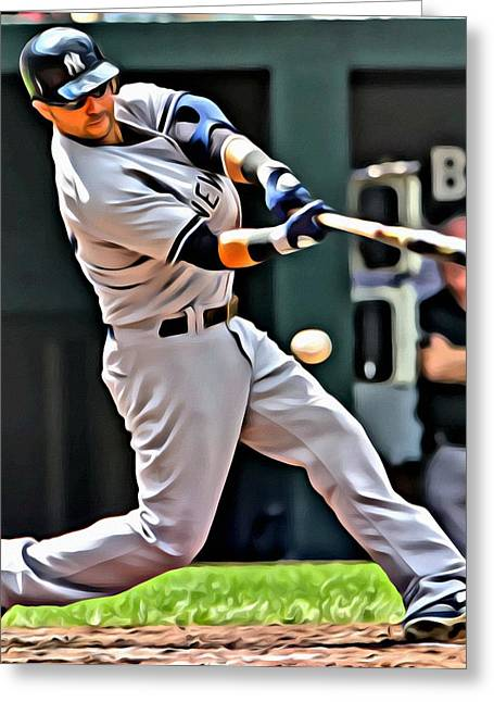 Nick Swisher Painting Greeting Card by Florian Rodarte