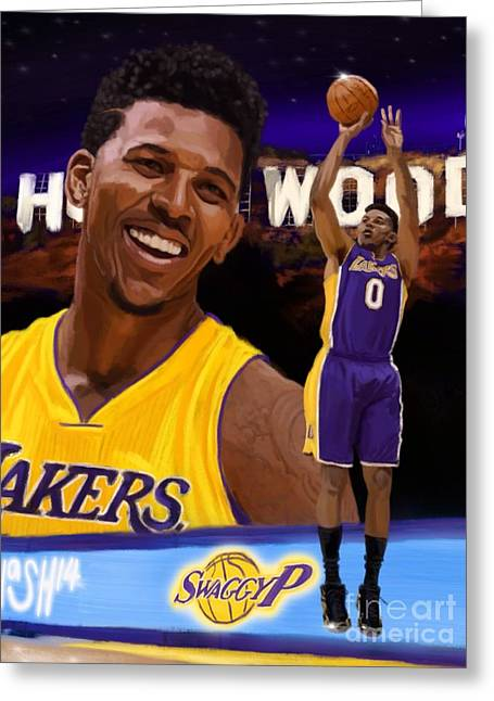 La Lakers Digital Art Greeting Cards - Nick Young  Greeting Card by Jeremy Nash