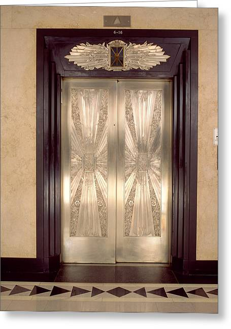 Metalwork Greeting Cards - Nickel Metalwork Art Deco Elevator Greeting Card by Panoramic Images