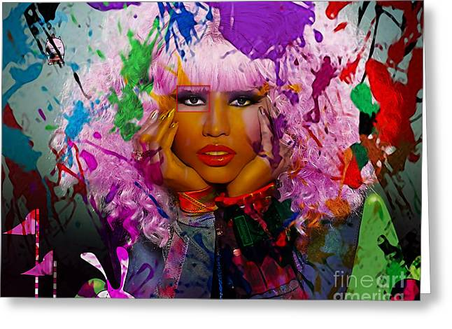 Young Greeting Cards - Nicki Minaj Painting Greeting Card by Marvin Blaine