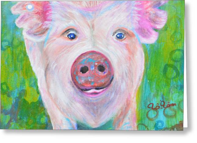 Sexy Pig Greeting Cards - Nicki s Portrait Greeting Card by To-Tam Gerwe