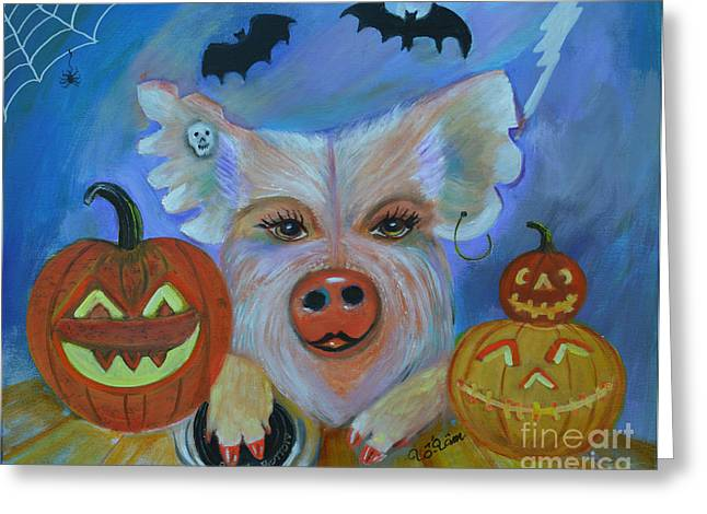 Porcine Animal Greeting Cards - Nicki with Halloween Pumpkins Greeting Card by To-Tam Gerwe