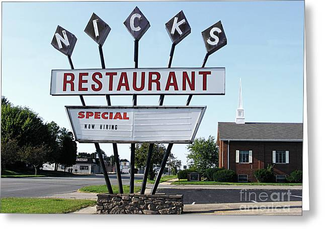 Now Hiring Greeting Cards - Nicks Restaurant Greeting Card by Alan Crabtree