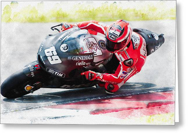 Roberto Greeting Cards - Nicky Hayden of USA Greeting Card by Don Kuing