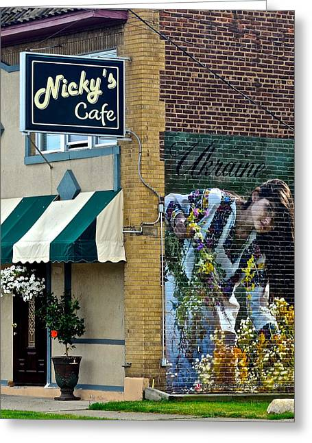 Store Fronts Greeting Cards - Nickys Cafe Greeting Card by Frozen in Time Fine Art Photography