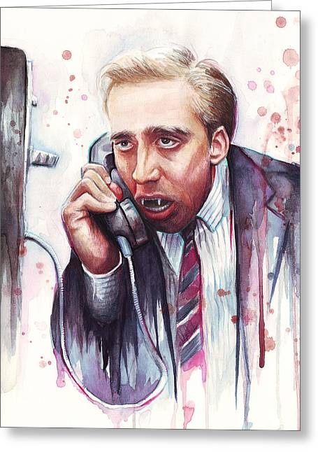 Funny Greeting Cards - Nicolas Cage A Vampires Kiss Watercolor Art Greeting Card by Olga Shvartsur