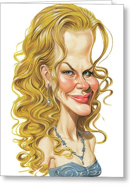 Caricature Paintings Greeting Cards - Nicole Kidman Greeting Card by Art