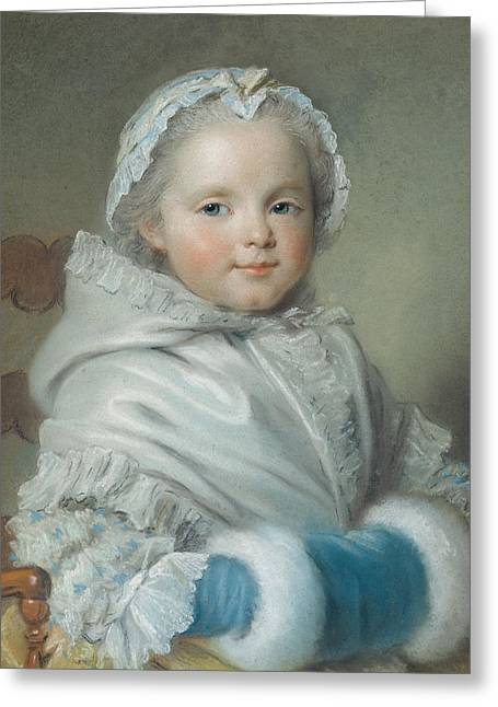 Smiling Child Greeting Cards - Nicole Ricard Pastel Greeting Card by Maurice Quentin de la Tour