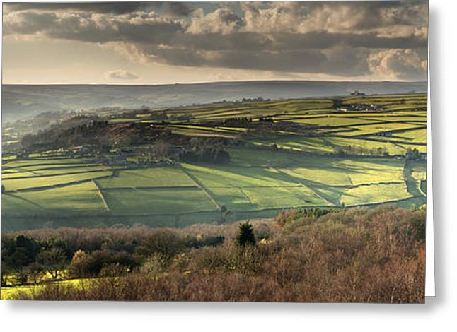 Millstone Greeting Cards - Nidderdale from Brimham Rocks Greeting Card by John Potter