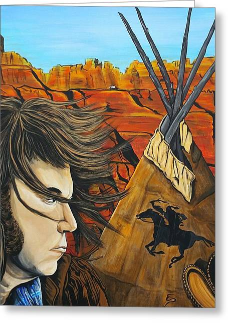 Famous Person Mixed Media Greeting Cards - Neil at the Canyon Greeting Card by Edward Pebworth