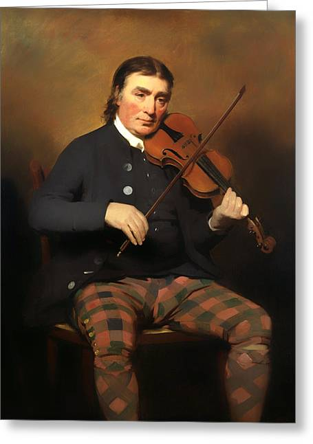 Niel Greeting Cards - Niel Gow - Violinist and Composer Greeting Card by Henry Raeburn