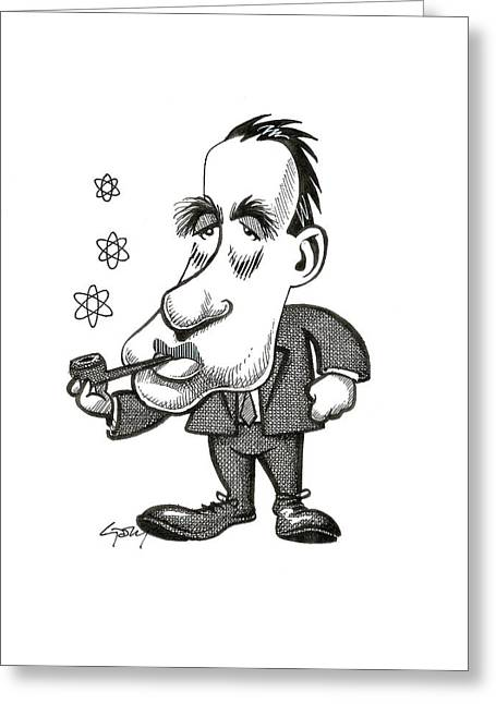 Niels Bohr, Caricature Greeting Card by Science Photo Library