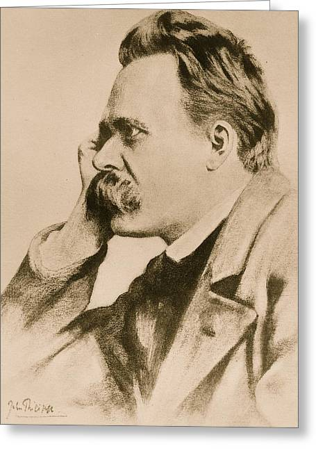 Moustache Greeting Cards - Nietzsche Greeting Card by Anonymous