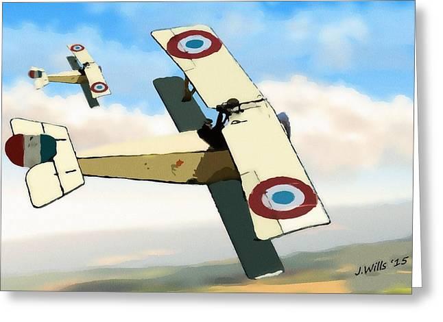 World War One Digital Greeting Cards - Nieuport 11 Bebe Greeting Card by John Wills