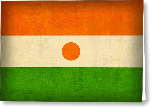 National Symbol Greeting Cards - Niger Flag Vintage Distressed Finish Greeting Card by Design Turnpike