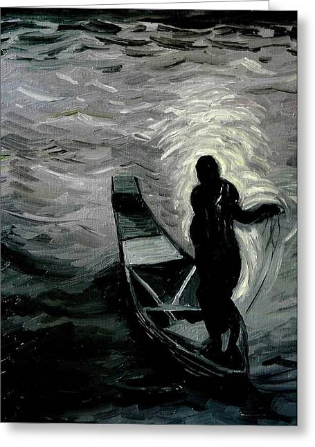 Safri Greeting Cards - Niger River at Night Greeting Card by Liz Young