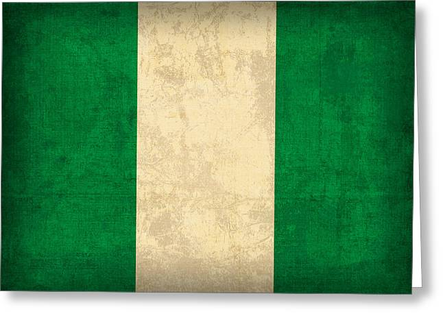National Symbol Greeting Cards - Nigeria Flag Vintage Distressed Finish Greeting Card by Design Turnpike